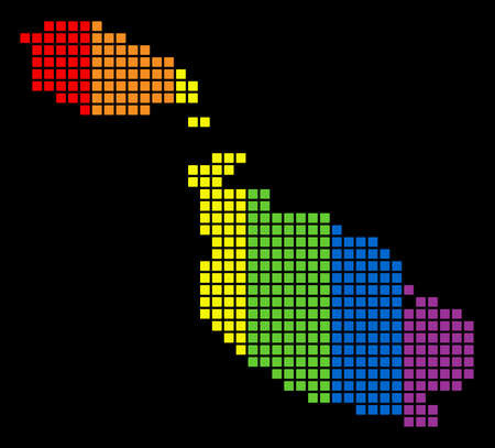 A dotted LGBT pride Malta Island Map for lesbians, gays, bisexuals, and transgenders. Spectrum vector abstract pattern of Malta Island Map combined of rounded square elements.