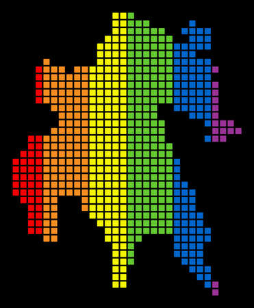 A dotted LGBT pride Peloponnese Half-Island Map for lesbians, gays, bisexuals, and transgenders. Colorful vector abstract concept of Peloponnese Half-Island Map made of rounded square dots.