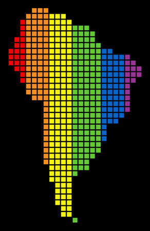 A dotted LGBT pride South America Map for lesbians, gays, bisexuals, and transgenders. Multicolored vector abstract concept of South America Map combined of rounded square pixels. Illustration