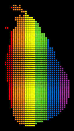 A dotted LGBT pride Sri Lanka Island Map for lesbians, gays, bisexuals, and transgenders. Colored vector abstract composition of Sri Lanka Island Map composed of rounded square dots.