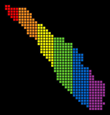 A dotted LGBT pride Sumatra Island Map for lesbians, gays, bisexuals, and transgenders. Spectrum vector abstract concept of Sumatra Island Map designed of rounded square pixels.