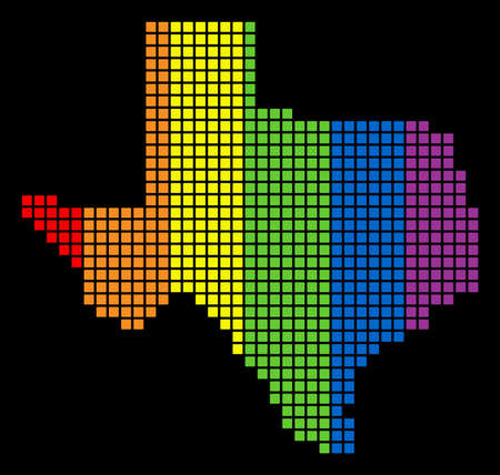 A dotted LGBT pride Texas Map for lesbians, gays, bisexuals, and transgenders. Color vector abstract concept of Texas Map made of rounded square dots.
