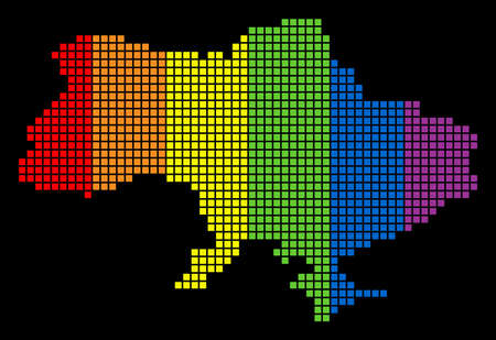 A dotted LGBT pride Ukraine Map With Crimea for lesbians, gays, bisexuals, and transgenders. Multicolored vector abstract pattern of Ukraine Map With Crimea combined of rounded square elements. Ilustração