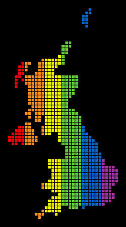 A dotted LGBT pride United Kingdom Map for lesbians, gays, bisexuals, and transgenders. Colored vector abstract pattern of United Kingdom Map organized of rounded square elements. Ilustração