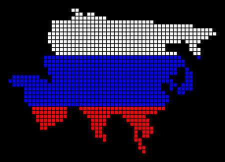 A dotted pixel Asia Map Vector geographic map in Russia flag colors on a black background. Ilustração