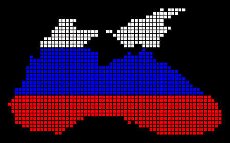 A dotted pixel Black Sea Map. Vector geographic map in Russia flag colors on a black background. Russian blue, red and white colored vector abstract pattern of Black Sea Map designed of small squares. Ilustração