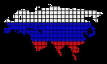 A dotted pixel Europe And Asia Map. Vector geographic map in Russia flag colors on a black background. Russian blue,