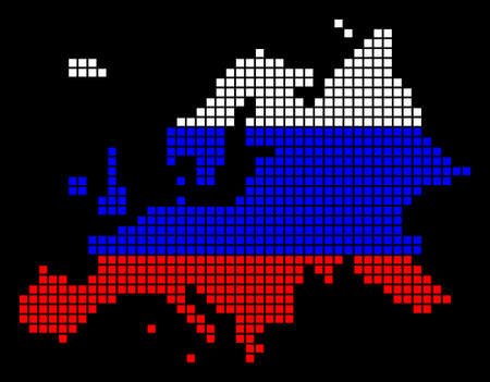 A dotted pixel Europe Map. Vector geographic map in Russia flag colors on a black background. Russian blue, red and white colored vector abstract pattern of Europe Map designed of square dots.