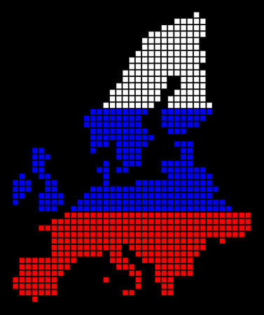 A dotted pixel European Union Map. Vector geographic map in Russia flag colors on a black background. Russian blue,