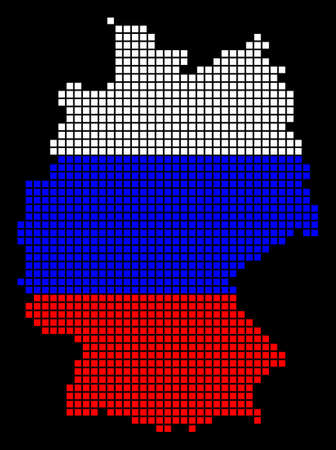 A dotted pixel Germany Map. Vector geographic map in Russia flag colors on a black background. Russian blue, red and white colored vector abstract mosaic of Germany Map done of square dots.