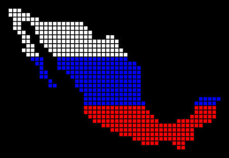 A dotted pixel Mexico Map. Vector geographic map in Russia flag colors on a black background. Russian blue, red and white colored vector abstract pattern of Mexico Map composed of small squares.