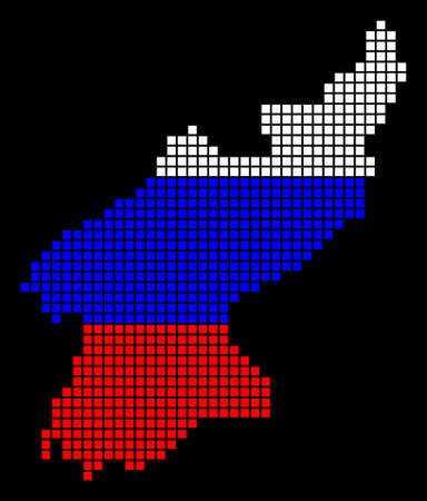 A dotted pixel North Korea map vector geographic map in Russia flag colors on a black background.