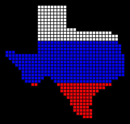 A dotted pixel Texas map vector geographic map in Russia flag colors on a black background.