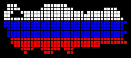A dotted pixel Turkey map vector geographic map in Russia flag colors on a black background.
