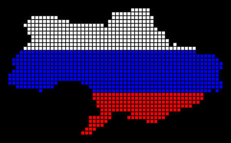 A dotted pixel Ukraine map vector geographic map in Russia flag colors on a black background.