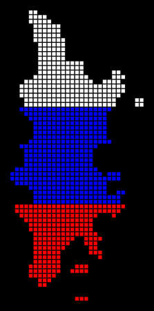 A dotted pixel Phuket map vector geographic map in Russia flag colors on a black background.