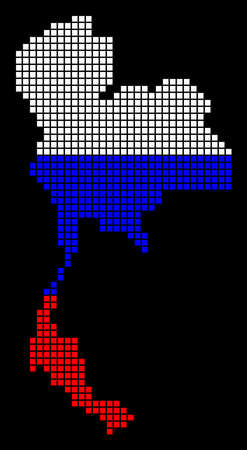 A dotted pixel Thailand map vector geographic map in Russia flag colors on a black background.