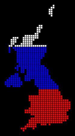 A dotted pixel United Kingdom map vector geographic map in Russia flag colors on a black background.