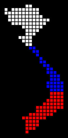 A dotted pixel Vietnam map vector geographic map in Russia flag colors on a black background.