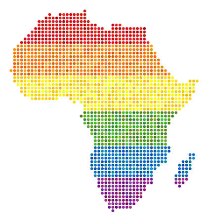 Map of Africa in rainbow colors. Illustration