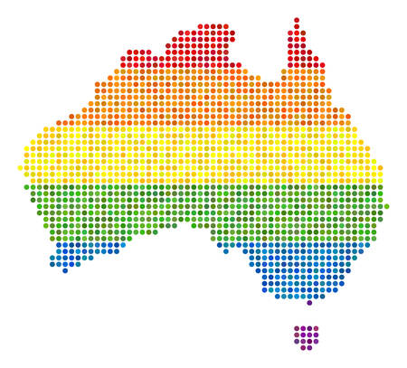 A dotted LGBT pride Australia Map for lesbians, gays, bisexuals, and transgenders.