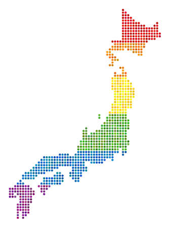 A dotted LGBT pride Japan Map for lesbians, gays, bisexuals, and transgenders.
