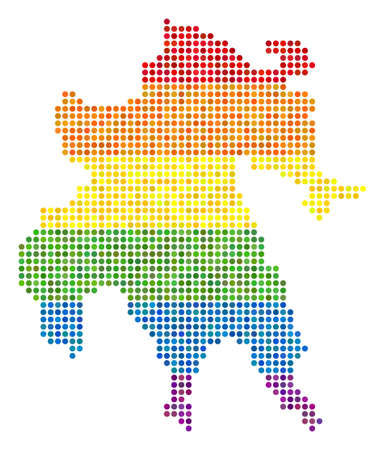 A dotted LGBT pride Peloponnese Half-Island Map for lesbians, gays, bisexuals, and transgenders. Illustration