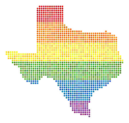 A dotted LGBT pride Texas Map.