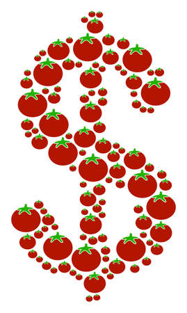 Dollar collage of tomato in variable sizes. Raster tomatoes items are grouped into dollar collage. Nutrition raster illustration.