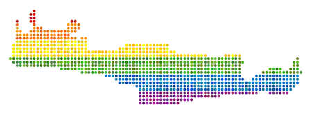 A dotted LGBT pride Crete Island Map for lesbians, gays, bisexuals, and transgenders. Raster homosexual tolerance geographic map in LGBT flag color variations on a white background. Stock Photo