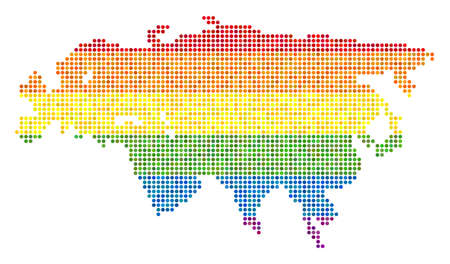 A dotted LGBT pride Europe And Asia Map for lesbians, gays, bisexuals, and transgenders. Raster homosexual tolerance geographic map in LGBT flag color tinges on a white background.