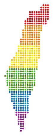 A dotted LGBT pride Israel Map for lesbians, gays, bisexuals, and transgenders. Raster homosexual tolerance geographic map in LGBT flag color tones on a white background. Stock Photo