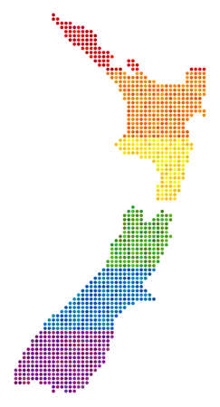 A dotted LGBT pride New Zealand Map for lesbians, gays, bisexuals, and transgenders. Raster homosexual tolerance geographic map in LGBT flag color hues on a white background.