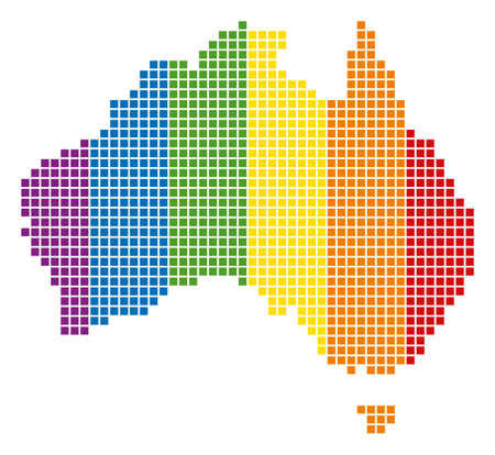 A dotted LGBT Australia Map for lesbians, gays, bisexuals, and transgenders. Vector geographic map in LGBT flag colors on a white background. Illustration