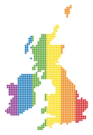 A dotted LGBT Great Britain And Ireland Map for lesbians, gays, bisexuals, and transgenders.
