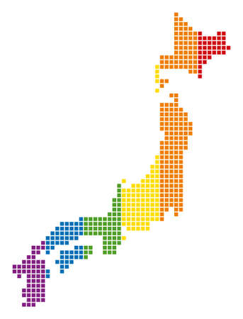 A dotted LGBT Japan Map for lesbians, gays, bisexuals, and transgenders. Illustration