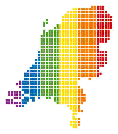 A dotted LGBT Netherlands Map for lesbians, gays, bisexuals, and transgenders. Vector geographic map in LGBT flag colors on a white background. Stock Illustratie