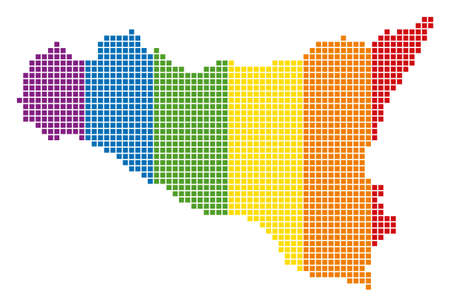 A dotted LGBT Sicilia Map for lesbians, gays, bisexuals, and transgenders.