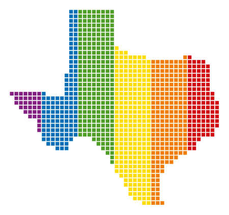 A dotted LGBT Texas Map for lesbians, gays, bisexuals, and transgenders.