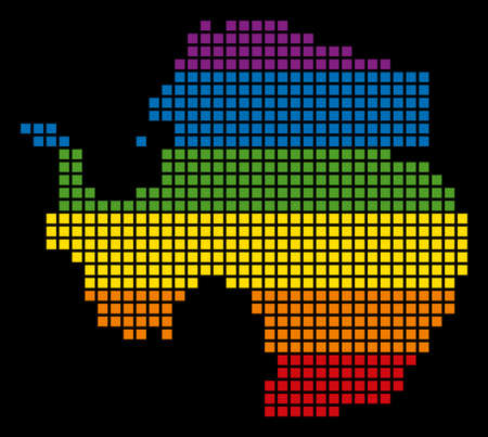 A pixel LGBT pride Antarctica Map for lesbians, gays, bisexuals, and transgenders. Vector homosexual tolerance geographic map in LGBT flag colors on a white background. Vectores