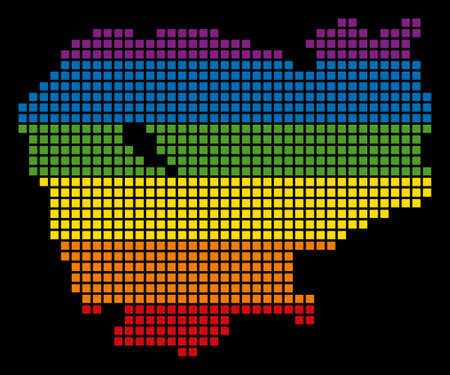 A pixel LGBT pride Cambodia Map for lesbians, gays, bisexuals, and transgenders.