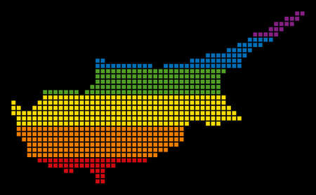 A pixel LGBT pride Cyprus Island Map for lesbians, gays, bisexuals, and transgenders.