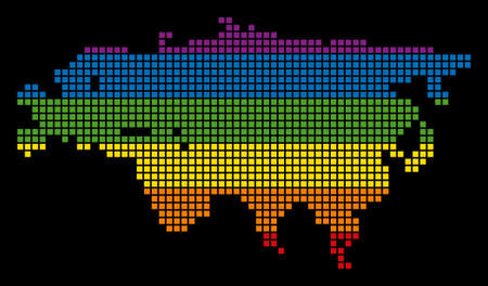 A pixel LGBT pride Eurasia Map for lesbians, gays, bisexuals, and transgenders.