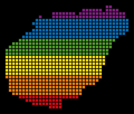Pixelated LGBT pride rainbow Hainan Island map on black background.