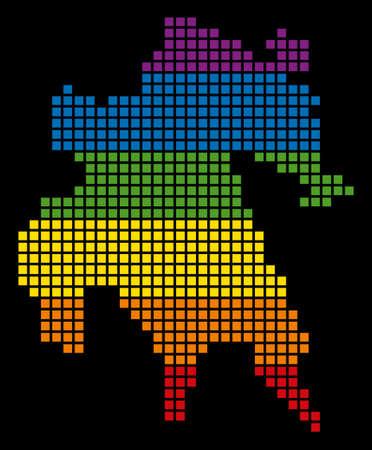 Pixelated LGBT pride rainbow Peloponnese Island map on black background.