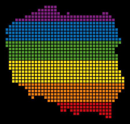 Pixelated LGBT pride rainbow Poland map on black background. Illustration