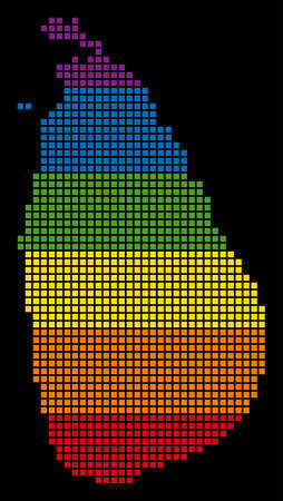 A pixel LGBT pride Sri Lanka Island Map for lesbians, gays, bisexuals, and transgenders. Vector tolerance geographic map in LGBT flag colors on a white background.