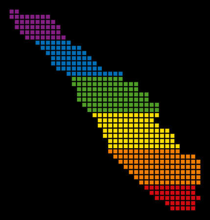 A pixel LGBT pride Sumatra Island Map for lesbians, gays, bisexuals, and transgenders. Vector tolerance geographic map in LGBT flag colors on a white background.