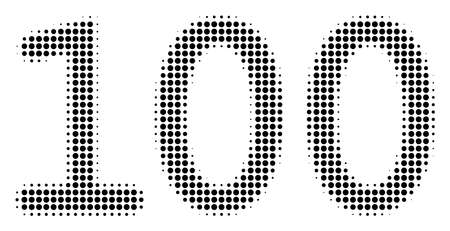 An illustration of dotted iconic 100 Text style on a white background. Halftone pattern is circle points. 일러스트