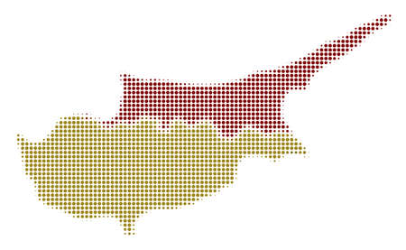Cyprus map in an illustration of a  colored dotted iconic symbol on a white background. Halftone matrix is circle spots. Ilustracja